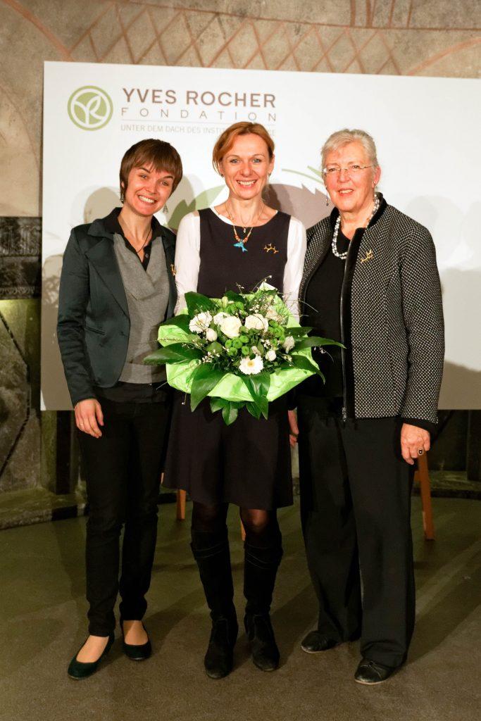 Umweltpreisverleihung Tropheé de femmes,2014 v.l.n.r. Silvia Hämmerle, Denise Wenger, Christine von Weizsäcker